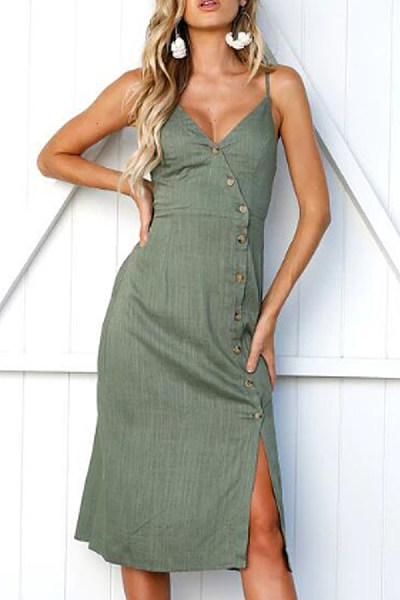 Spaghetti Strap  Diagonal Buttons  Plain  Sleeveless Maxi Dresses