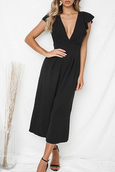 Deep V Neck  Belt Loops  Plain  Extra Short Sleeve Jumpsuits
