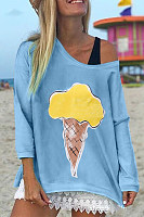 Casual Polyester Fiber Round Neck Printed Colour Long Sleeve T-Shirt
