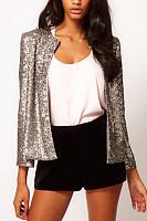 Band Collar  Glitter  Plain Jackets