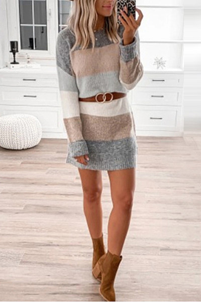 Casual Color Block Round Neck Dress