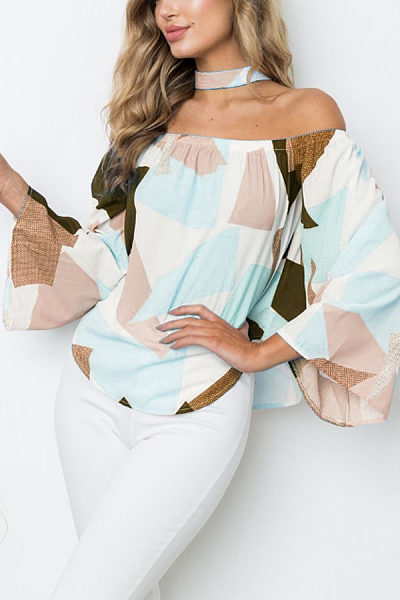 Off Shoulder  Asymmetric Hem  Color Block  Bell Sleeve  Blouses