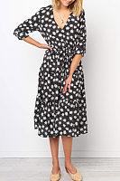 V Neck Floral Maxi Dresses