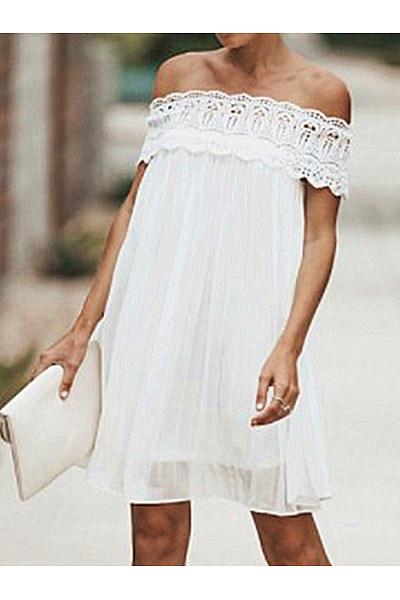 Off Shoulder  Decorative Lace  Plain  Short Sleeve Casual Dresses