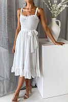 Fashion Sling Ruffled Lace-Up Women's Dress