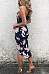 Deep V Neck  Asymmetric Hem  Curved Hem  Floral Printed  Sleeveless Maxi Dresses