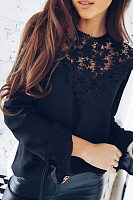 Decorative Lace  Plain  Bell Sleeve Blouses