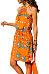Spaghetti Strap  Belt  Printed  Sleeveless Casual Dresses