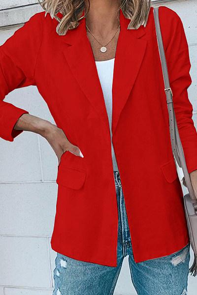 Casual Solid Color Lapel Pocket Long Sleeve Blazer