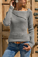 Asymmetric Neck  Plain Sweaters