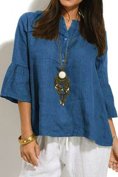 Casual V-Neck Button Solid Color Cropped Sleeve Shirt