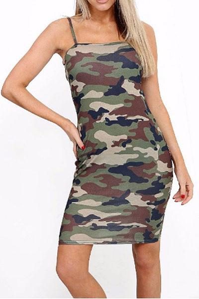 Spaghetti Strap  Moisture Wicking  Smocked Bodice  Camouflage  Sleeveless Bodycon Dresses