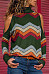 High Neck  Abstract Print Sweaters