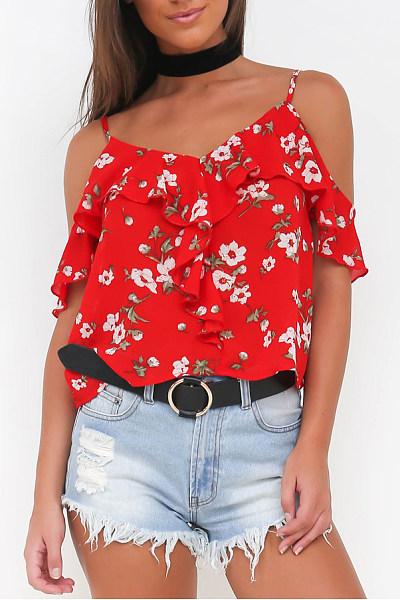 Spaghetti Strap Flounce Floral T-shirt
