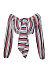 Deep V Neck  Exposed Navel  Striped  Blouses