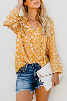 V Neck Lace Up Long Sleeve Floral Printed Casual Blouses