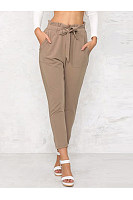 Plain Belt Patch Pocket High-Rise Slim-Leg Casual Pants