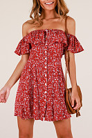 Off Shoulder  Floral Printed Casual Dresses