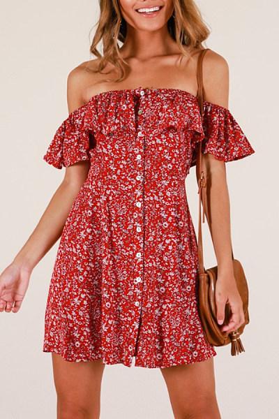Off Shoulder  Floral Printed Casual Dresses