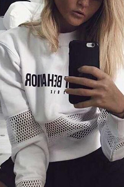 Mesh Crew Neck Hollow Out Letters Printed Sweatshirt