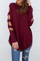 Round Neck  Asymmetric Hem Cutout  Plain T-Shirts