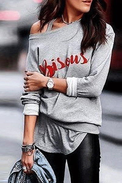 One Shouder Casual Soft Printed T-Shirt