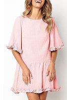 Half Sleeve Ruffle Low-Waisted Casual Pleated Mini Dress
