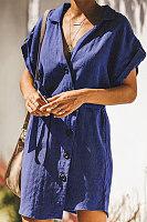 Lapel V Neck Single Breasted Short Sleeve Plain Casual Dresses