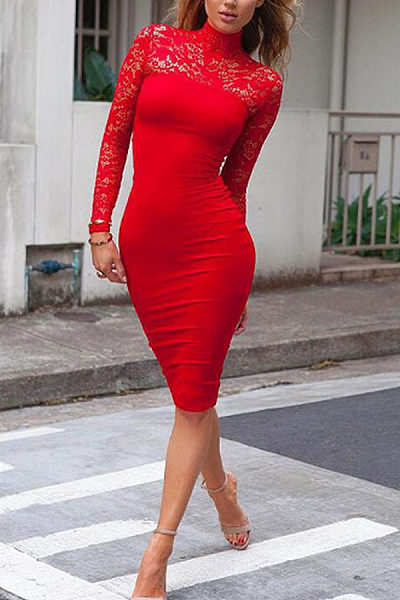 Band Collar  Patchwork  Hollow Out Plain  Bodycon Dresses