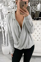 Design Pure Colour Pleated Long Sleeve T-Shirt