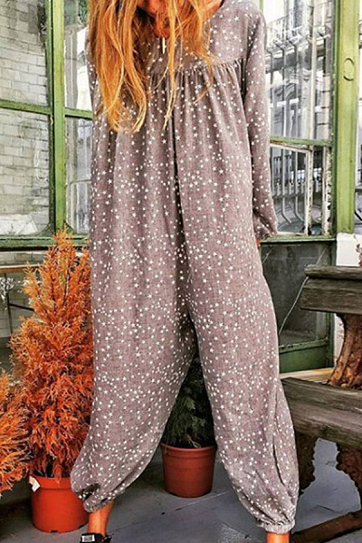 Casual Long Sleeve Polka Dot Pure Color Jumpsuit