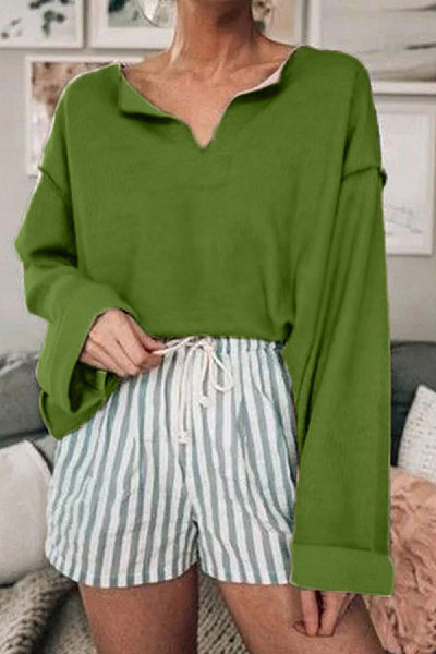 Casual Solid Color Off-Shoulder Long-Sleeved Round Neck T-Shirts