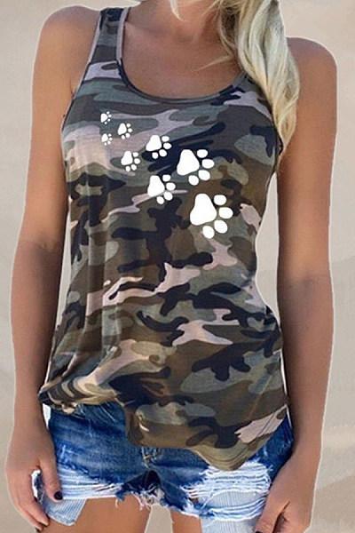 Round Neck  Camouflage  Vests