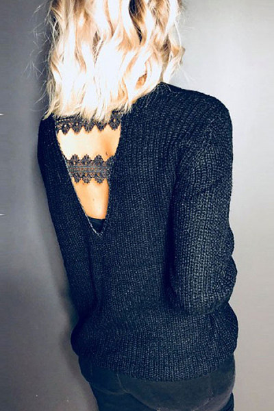 V Neck  Backless  Plain Sweaters