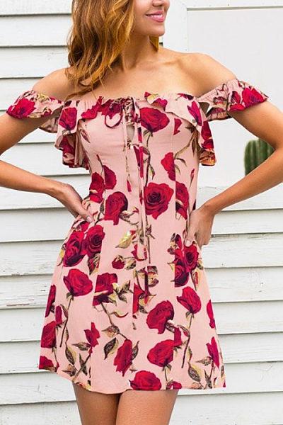 Off Shoulder  Backless  Floral Printed  Extra Short Sleeve Casual Dresses