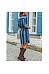 Lapel Stripes Belt Long Sleeve Shift Dresses