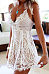 Lace Spaghetti Strap Cross Straps Hollow Out Sleeveless Skater Dresses