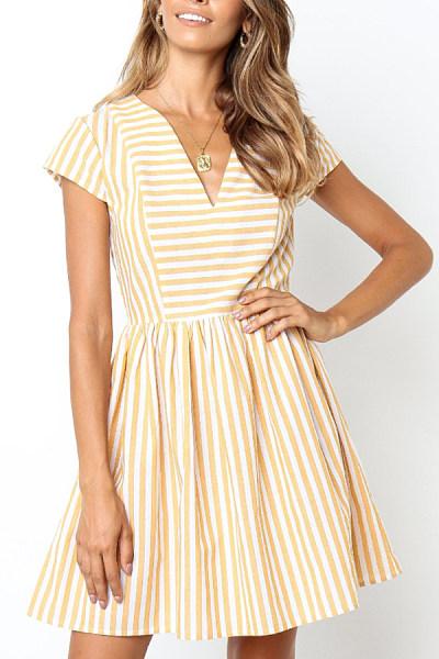 V Neck Striped Skater Dresses
