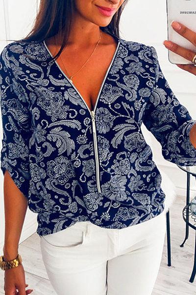 Zipper V Neck Printed Casual Blouses