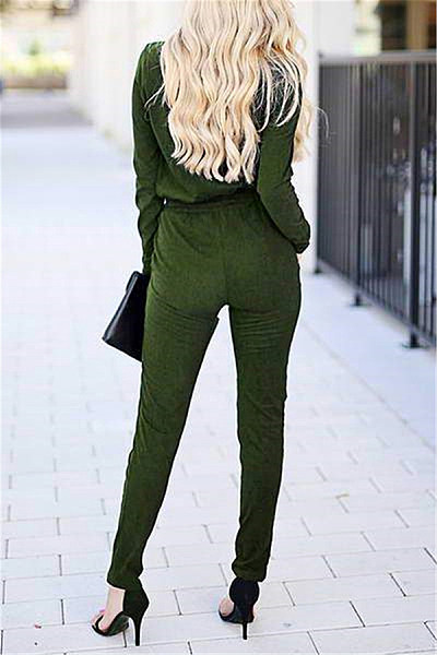 Casual V Neck Solid Color Lace-Up Jumpsuits