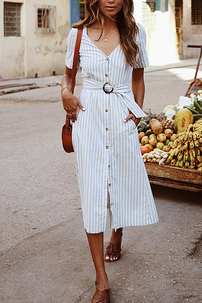 V Neck  Single Breasted  Striped  Short Sleeve  Elegant Maxi Dresses