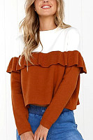 Round Neck  Flounce  Patchwork Sweaters