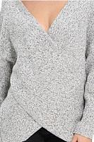 Surplice Curved Hem Long Sleeve Sweater