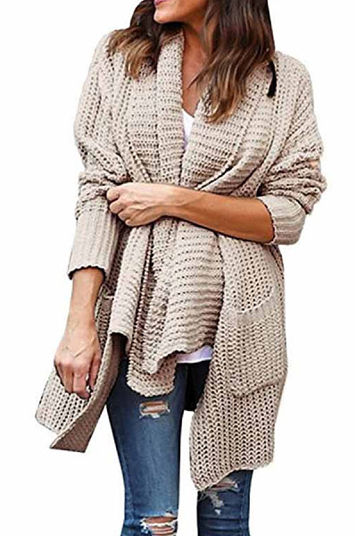 Fold Over Collar  Kangaroo Pocket  Plain Cardigans