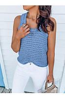 Casual Round-Neck Knit Sleeveless Vest