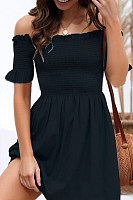 Off Shoulder  Backless  Plain  Short Sleeve Skater Dresses
