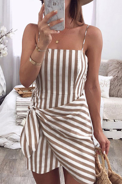 Spaghetti Strap  Asymmetric Hem  Belt Loops  Striped  Sleeveless Bodycon Dresses