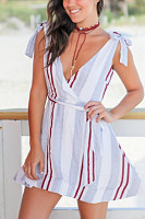 V Neck  Belt  Stripes  Sleeveless Skater Dresses