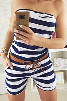 Strapless  Striped  Sleeveless  Sexy  Playsuits