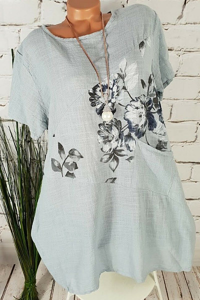 Round Neck Floral Pockets Casual Blouses